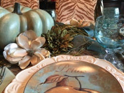 Autumn Tablescape Using Aqua and Gold
